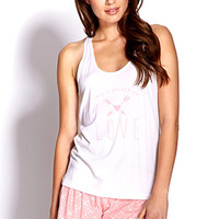 FOREVER 21 Take A Chance On Love PJ Set White/Pink