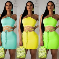 Women Sexy Two Piece Lace Up Sleeveless Crop Top Skirt Set