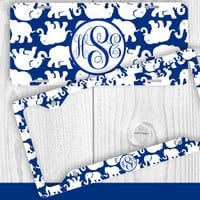 Blue White Elephant Monogram License Plate Frame Holder Metal Wall Sign Tags Personalized Custom Vanity Country Girl