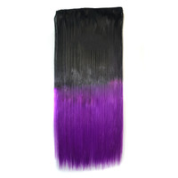 Anime Cosplay Wig Gradient Ramp 5 Cards Hair Extension   R2 black to violet