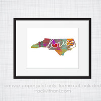 North Carolina Love - NC Canvas Paper Print:  Grunge, Watercolor, Rustic, Whimsical, Colorful, Digital, Silhouette, Heart, State, US