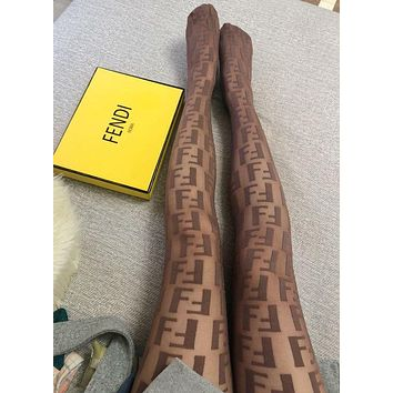 FENDI New Fashion FF Letter Brown Pattern Tights Stockings