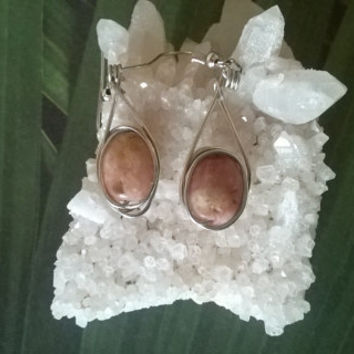 Lepidolite gemstone earrings artisan wire wrapped natural stone dangle bead earrings lithium crystal jewelry silver or gold wire