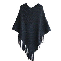 COCKCON  Ladies Cape Coat Fringe Poncho Oblique Stripe Coat Bohemian Shawl Scarf