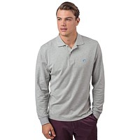 Long Sleeve Heathered Skipjack Polo in Light Grey by Southern Tide