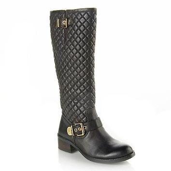 """Vince Camuto """"Wenters"""" Quilted Tall Leather Boot at HSN.com at HSN.com"""