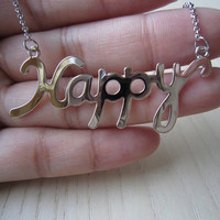 white gold necklace,Happy letter necklace,best gift