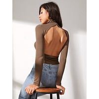 SHEIN Funnel Neck Open Back Rib-knit Tee