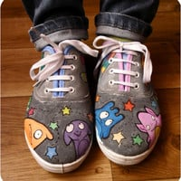 Personalized handpainted shoes, Cute Aliens shoes, custom sneakers, crazy rainbow alien