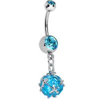 Aqua Gem Barbed Wire Wrapped CZ Dangle Belly Ring | Body Candy Body Jewelry