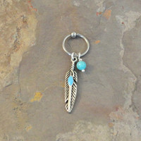 Turquosie Tribal Feather CBR Hoop Cartilage Bead Hoop Earring Boho Tragus Helix Piercing