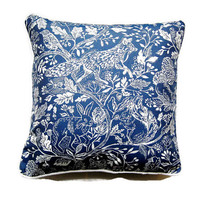 John Lewis blue and cream woodland fox, rabbit, bird and squirrel woodland woven silk and cotton cushion throw pillow home decor 18 x 18 ins