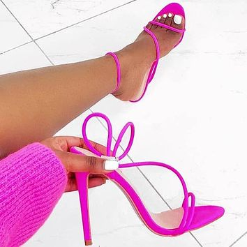 Candy colors Bright color High heels Women's shoes rose red three line