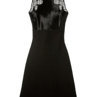 DAVID KOMA BLACK EMBOSSED COTTON A-LINE DRESS