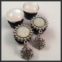 2 PAIRS Christmas Snow flake Girly Ear Guages Dangle Plugs