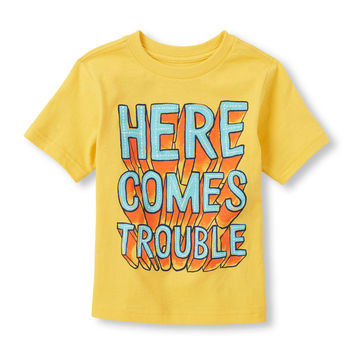 Toddler Boys Short Sleeve 'Here Comes Trouble' Graphic Tee   The Children's Place