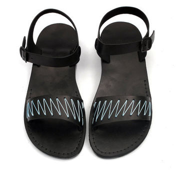 Black Leather Sandals with Blue Yarn -  ZigZag Pattern - US Size 8 / 8.5 / 9 / 10 / 11 / 12 EU Size 41 / 42 / 43 / 44 / 45 / 46