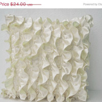 Valentine SALE Decorative pillow in Ivory White Satin with Ruffles- Decorative cushion cover - 18X18 throw pillow - Ruffle throw cushion - G