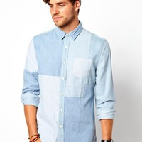 ASOS Heavyweight Denim Shirt In Long Sleeve With Cut And Sew