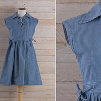Vintage 1970s Denim Dolly Mini Dress / Horizontal Stripes Peasant Jean Dress / Girly Cute Cotton Striped Small S Dress