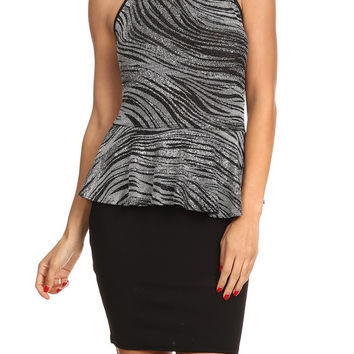 * Patterned lurex body con dress In Gray