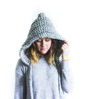 Chunky Hooded Knit Pixie Hat | THE ROBINHOOD | Grey Marble