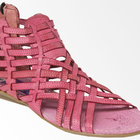 Women's Handmade Woven Genuine Leather Pink Sandals