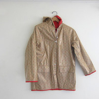 vintage reversible red and tan vinyl rain coat with hearts
