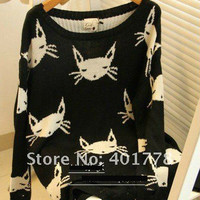 Cat Face Sweater 2 COLORS from Everliving Beauty