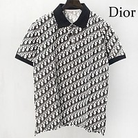 DIOR Summer New Men Women Casual Full Logo Print Short Sleeve Lapel Shirt Top