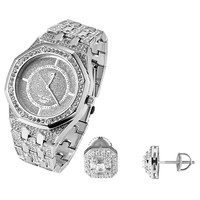 Hip Hop Men's Fully Iced out Lab diamonds Octagon Face Techno Pave Watch & Soliatire Earrings Combo