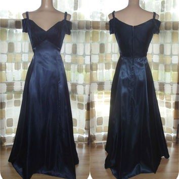 Vintage 90s Navy Blue Velvet & Satin Formal Gown Party Dress Sz 10 Bridesmaid Cocktail Prom