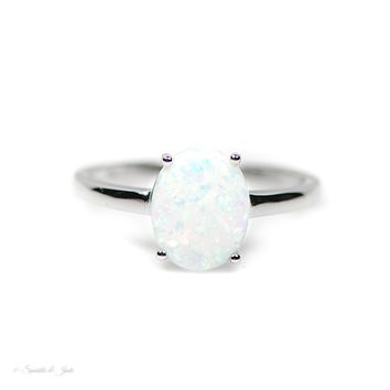 Sterling Silver 10mm Oval Created White Opal Solitaire Ring