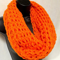 Infinity Crochet Scarf. Orange Girls Infinity. Fantasy Scarf. College Trends Scarf
