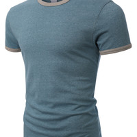 LE3NO PREMIUM Mens Soft Jersey Crewneck Heather Ringer T Shirt