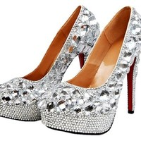 Honeystore Women's Crystal Rhinestone Sheepskin Bridal Pumps Silver 6.5 B(M) US