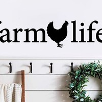 Farmlife Heart Farm Chicken Rooster Primitive Country Bedroom Love Wedding Nursery Vinyl Wall Decal Home Decor Farmhouse