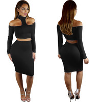 T-Neck Cutout Bodycon Crop Top and Skirt