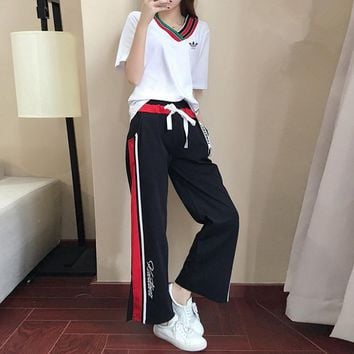 """Adidas"" Women Loose Casual Fashion Multicolor Stripe Letter Wide Leg Pants Trousers V-Neck Short Sleeve T-shirt Set Two-Piece Sportswear"