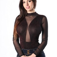 Mock neck sheer mesh accnted long sleeves bodusuit