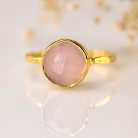October Birthstone Jewelry - Pink Chalcedony Ring - Bezel Set Ring - Pink Quartz ring - Gemstone Ring - Gold Ring - Mother's Day Gift