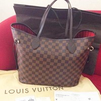Louis Vuitton Damier Canvas Neverfull MM Red Shoulder Handbag