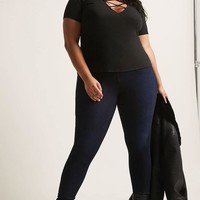 Plus Size Ribbed Caged Top