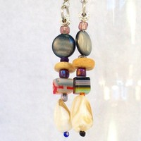 Boho-Style Dangle Earrings with Shell and Multicolored Beads, pierced or clip