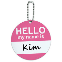 Kim Hello My Name Is Round ID Card Luggage Tag