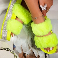 Women's fashionable and versatile platform slippers shoes