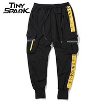 Men Hip Hop Joggers Sweat pant Yellow Ribbon Side Striped Pants Men Cotton Sweat Pant Tactical Pocket Street wear