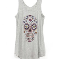 Grey U Neckline Sleeveless Tank with Colored Skull