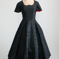 Vintage 1950s Black and Red Eyelet Taffeta Party Dress
