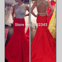 Luxury High Quality Sleeveless Red Scoop Neck Long Mermaid Prom Dresses 2016 Satin Open Back Beading Floor Length Prom Dress